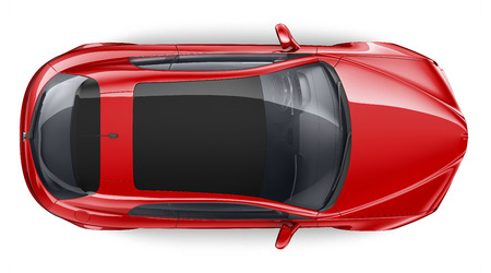 Top view of red car