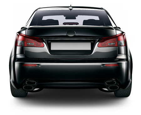 rear wheel: Rear view of black sedan car