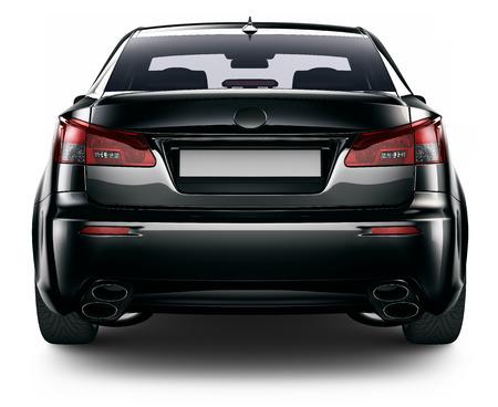car: Vista trasera del coche sedán negro
