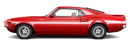 빨간 고전적인 근육 차