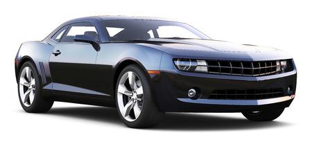 shiny background: Black muscle car