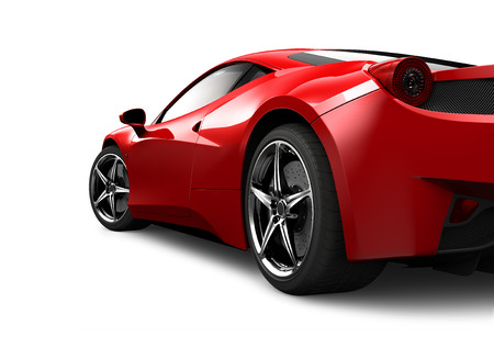 흰색 배경에 빨간 스포츠 차