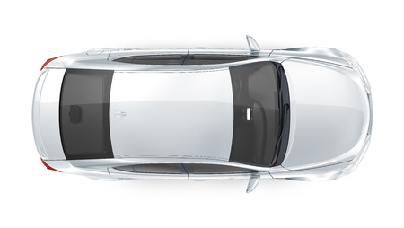 Luxury silver sedan - top view