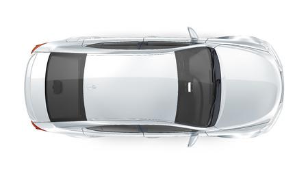 Luxury silver sedan - top view