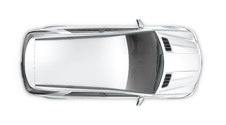 Silver SUV - top view Imagens
