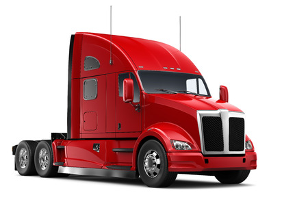 from side: Isolated Red heavy truck Stock Photo