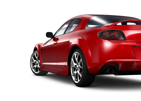 Red coupe - rear angle