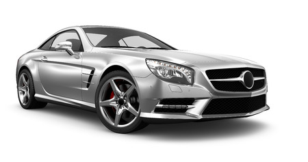 car grill: Modern silver coupe car