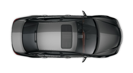 Black sedan - top view