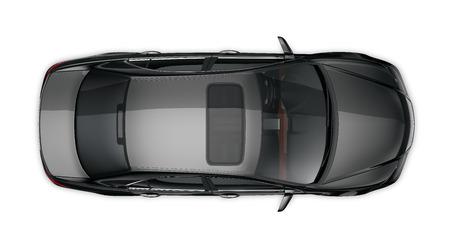 Zwarte sedan - bovenaanzicht
