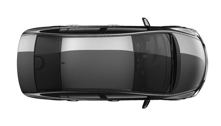 Isolated black car - top view