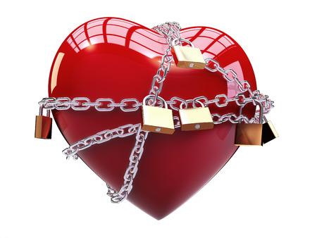 chaining: Chained heart Stock Photo