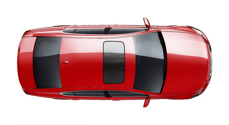 Isolated red car on white background