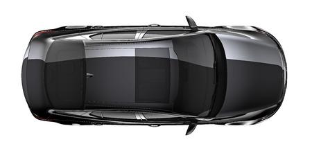 Isolated black car on white background