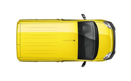 黄色い小さい配達用バン - 平面図