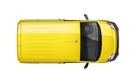 Small delivery yellow van - top view