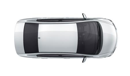 Compact white car - top view Standard-Bild