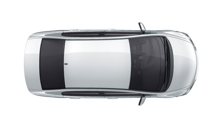 sedan: Compact white car - top view Stock Photo