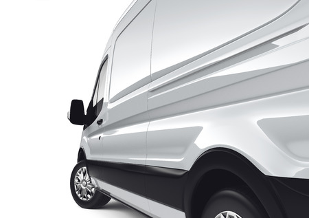 container truck: White cargo van