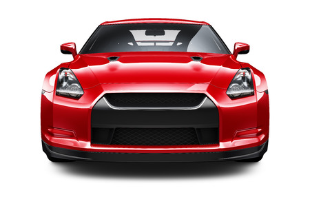 car front: Red stylish sport car Stock Photo