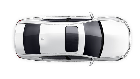 白い車のトップ ビュー 写真素材