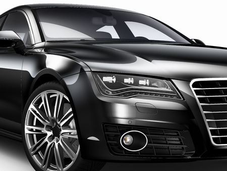 Black car - cropped shot isotlated on white