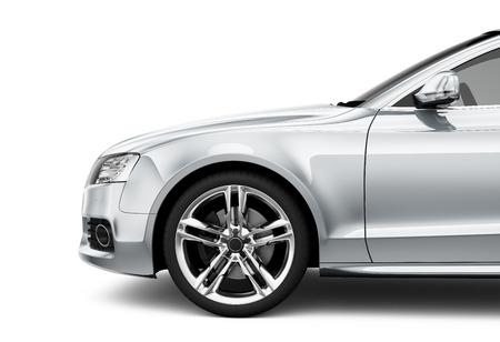 Zilveren auto - bijgesneden opname isotlated op wit