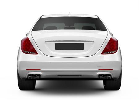 白の高級車の背面図 写真素材