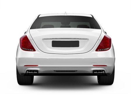 Rear view of white luxury car