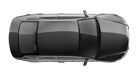 Zwarte coupe auto - bovenaanzicht