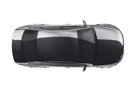 Top view of black sedan car