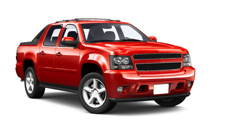 Red sport utility truck