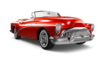 赤の古典的なクーペの車