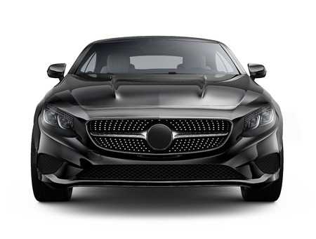 car grill: Black luxury coupe car on white background