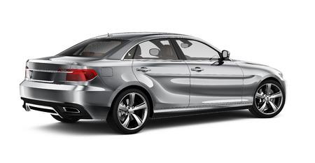 Silver sedan car - rear view