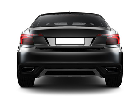 Rear view of black sedan car Imagens - 38003035