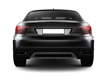 shiny car: Rear view of black sedan car