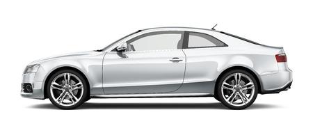 흰색 배경에 흰색 쿠페 자동차