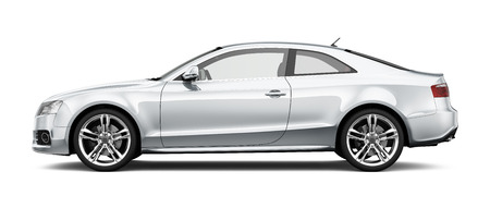 White coupe car on white background