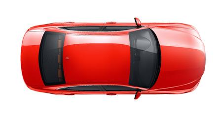 赤い車のトップ ビュー