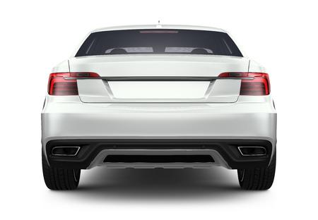 白い車の背面図