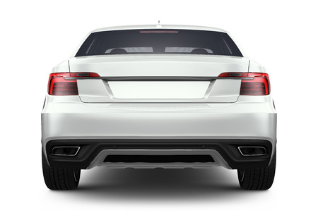 Rear view of white car