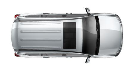 白地に銀の重い SUV