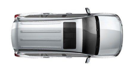 Silver heavy SUV on white