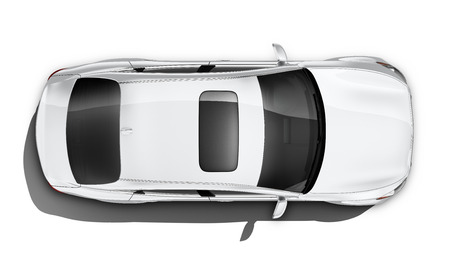 White luxury car - top angle Standard-Bild