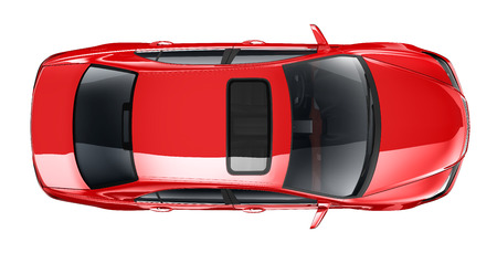 Red car  top angle
