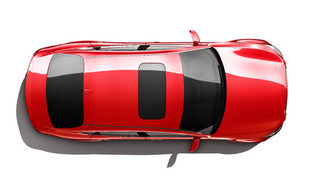 top angle: Red luxury car  top angle Stock Photo