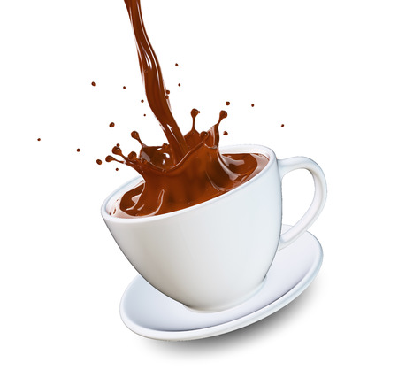 Hot chocolate splash in white cup Stock Photo