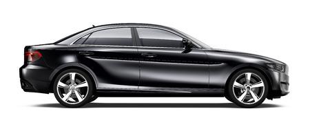 검은 색 세단 자동차 측면보기 스톡 콘텐츠