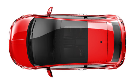 Compact red car  top view